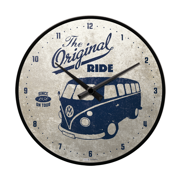 horloge murale vintage vw volkswagen t1 bulli the. Black Bedroom Furniture Sets. Home Design Ideas