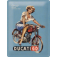 Plaque en métal 30 X 40 cm Pin-up Moto Ducati
