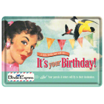 "Plaque en métal 14 X 10 cm ""It's your Birthday"""