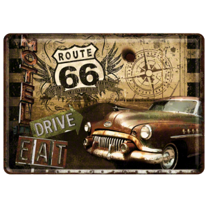 plaque en m tal 14 x 10 cm route 66 vieille voiture am ricaine deco envie com. Black Bedroom Furniture Sets. Home Design Ideas