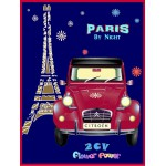Plaque en métal 20 X 30 cm : Citroën 2CV Paris by night à la tour Eiffel