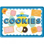 "Plaque en métal 14 X 10 cm ""Eat more cookies"""