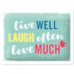 "Plaque en métal 15 X 20 cm ""Live well, laugh often, ..."" - ""Vis bien, ris souvent, ..."""