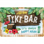 Plaque en métal 20 X 30 cm : Aloha Tiki Bar Happy Hour