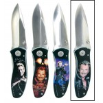 Couteau pliable Johnny Hallyday souriant