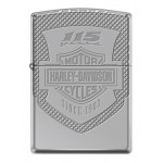"Briquet essence Zippo Harley-Davidson anniversaire 115 ans logo gravé sur fond ""high polish chrome"" version Armor"
