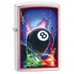 "Briquet essence Zipo Mazzi boule 8 - chance - billard splash fond ""brushed chrome"""