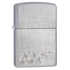"Briquet essence Zippo James Bond 007 sur fond ""linen weave chrome"""