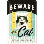 "Plaque en métal 20 X 30 cm ""Beware of the cat"" - ""Attention au chat"""