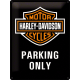 plaque en métal 30 X 40 cm harley-davidson : logo de la marque et mention PARKING ONLY