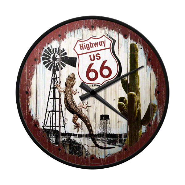 Horloge murale route 66 deco envie com for Decoration murale route 66
