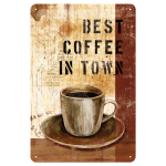 Plaque en métal 20 X 30 cm : Best coffee in town