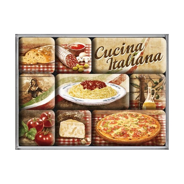 Set de 9 magnets cucina italiana cuisine italienne for Deco cuisine italienne