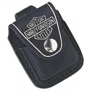 Etui housse noire en cuir Harley-Davidson pour briquet essence Zippo