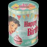 Tirelire métallique ronde Happy Birthday