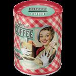 "Tirelire métallique ronde ""Have a coffee"""