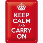 "Plaque en métal 15 X 20 cm : ""Keep calm and carry on"""