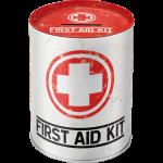 """Tirelire métallique ronde """"First Aid Kit"""" - """"Trousse de premiers secours"""""""