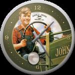 Horloge murale vintage : John Deere jeune homme à la campagne