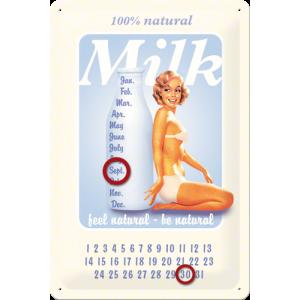 Calendrier Pin Up.Plaque En Metal 20 X 30 Cm Pin Up Calendrier Perpetuel Milk Lait