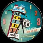 Horloge murale : Enseigne du Blue Star motel sur la Route 66