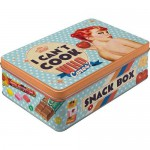 """Boîte en métal plate Vintage : """"I can't cook ..."""" - Snack box"""
