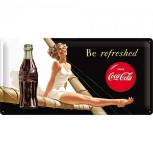 Plaque en métal 25 x 50 cm : Coca-Cola publicité sur un voilier