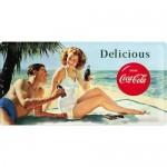 Plaque en métal 25 x 50 cm : Coca-Cola un couple à la plage