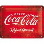 Plaque en métal 15 X 20 cm : Coca-cola logo classique