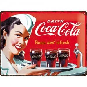 Plaque en métal 30 X 40 cm Coca-Cola et sa jolie serveuse