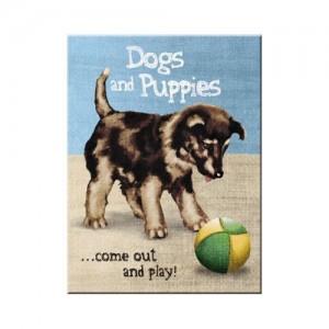Magnet 8 x 6 cm Dogs & Puppies - Chiot qui joue