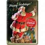 Plaque en métal 14 X 10 cm : Coca-Cola et le Père Noël