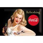 Plaque en métal 20 X 30 cm : Coca-Cola et sa pin-up