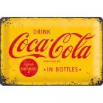 Plaque en métal 20 X 30 cm : Coca-Cola publicité rétro jaune et rouge