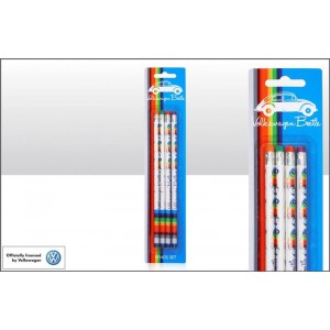 Set de 4 crayons VW Volkswagen Beetle Coccinelle lignes multicolores