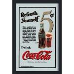 """Cadre miroir Vintage années 50 Pub Coca-Cola """"Refresh yourself"""""""
