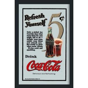 Cadre Miroir Vintage Années 50 Pub Coca Cola Refresh Yourself