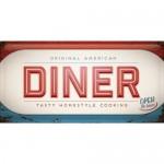 Plaque en métal 25 x 50 cm : Enseigne Diner