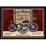 Plaque en métal 14 X 10 cm Harley-Daivdson : moto 1949 Panhead