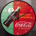 Horloge murale vintage : Coca-Cola sur fond rouge et vert