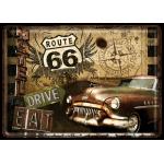 Plaque en métal 14 X 10 cm Route 66 : Vieille voiture américaine