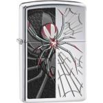 Briquet essence Zippo araignée sur sa toile bicolore
