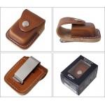 Housse brune Zippo en clip en métal pour ceinture