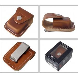 Etui housse brune Zippo en cuir avec clip en métal pour ceinture