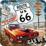 Sous-verre Route 66 emblème et motel (à la pièce)