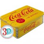 Boîte en métal plate Coca-Cola jaune et rouge