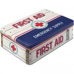 Boîte en métal plate First Aid - Premiers soins