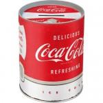 Tirelire métallique ronde Coca-Cola logo classique