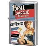 Briquet à essence : Best garage avec pin-up bleu (moto)
