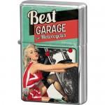 Briquet à essence vert turquoise : Best garage avec pin-up et moto